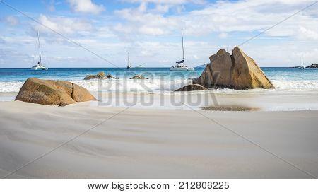 Catamarans At Anse Lazio On The Seychelles 45
