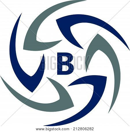 Rotation Arrow Process Plan Boomerang Letter B Logo Design Template Vector