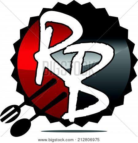 Restaurant Fork Spoon Letter R B Logo Design Template Vector