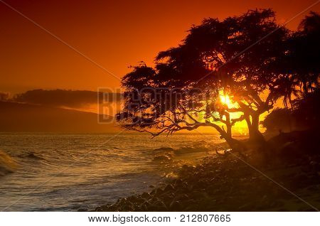 Sun setting on Maui Beach south of Lahaina