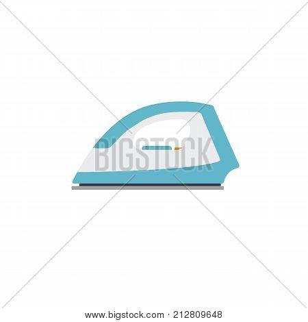 Flat electric iron illustration. Flat design of blue iron isolated