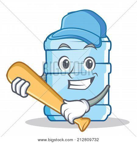 Playing baseball gallon character cartoon style vector illustration