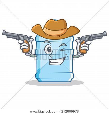 Cowboy gallon character cartoon style vector illustration