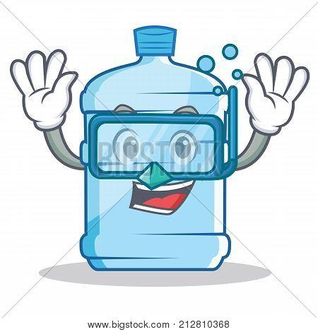 Diving gallon character cartoon style vector illustration