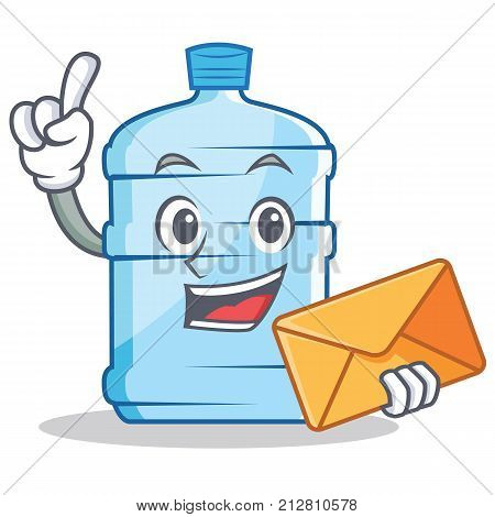 With envelope gallon character cartoon style vector illustration