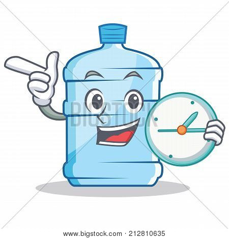 With clock gallon character cartoon style vector illustration