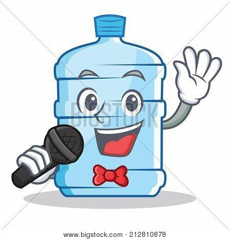 Singing gallon character cartoon style vector illustration