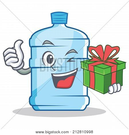 With gift gallon character cartoon style vector illustration