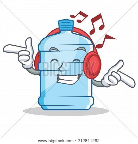 Listening music gallon character cartoon style vector illustration
