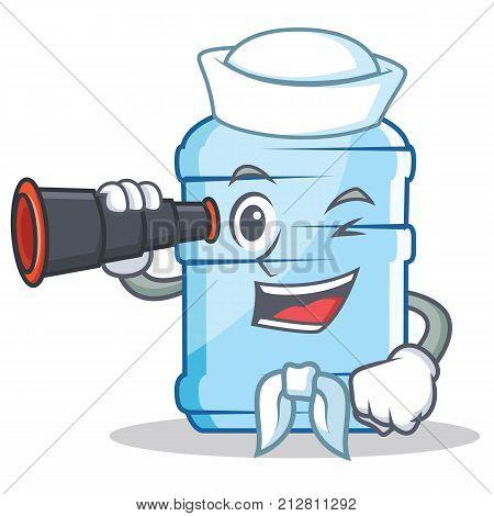 Sailor with binocular gallon character cartoon style vector illustration