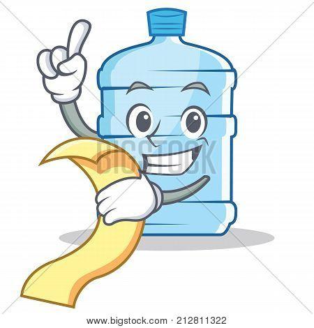 With menu gallon character cartoon style vector illustration