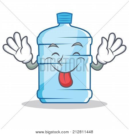 Tongue out gallon character cartoon style vector illustration