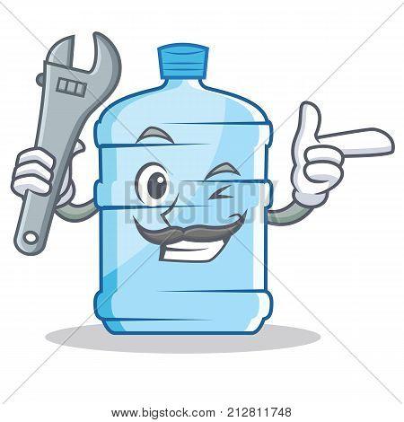 Mechanic gallon character cartoon style vector illustration