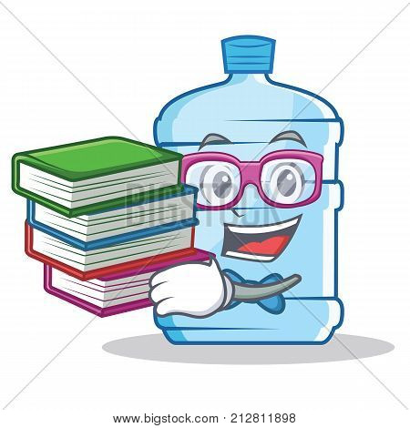 Student with book gallon character cartoon style vector illustration