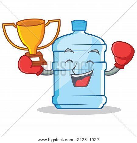 Boxing winner gallon character cartoon style vector illustration