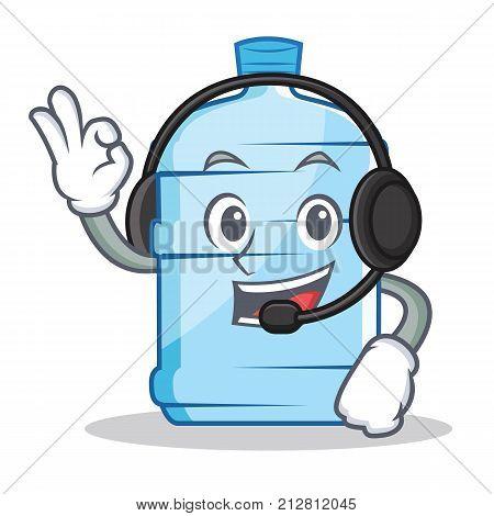 With headphone gallon character cartoon style vector illustration