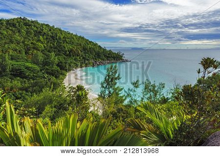Panoramic Overview To Paradise Beach Anse Georgette, Praslin, Seychelles 1