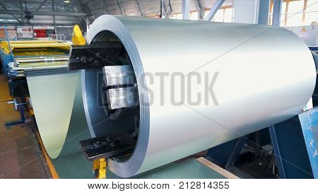 Rolled Steel. Stack Of Rolls, Cold Rolled Steel Coils In Action. Galvanized Steel Sheet And Rusty Ri