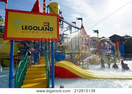 JOHOR BAHARU, MALAYSIA - OCTOBER 17, 2017 ; People having fun at Malaysia Legoland Water Theme Park. First international theme park opened in Asia.