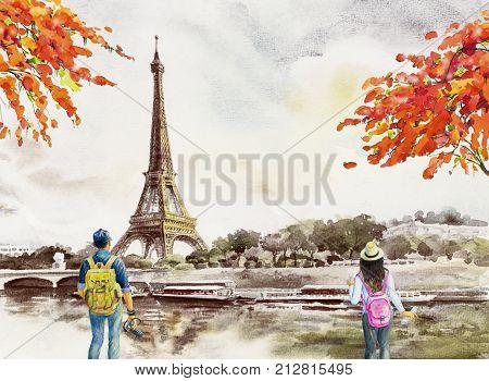 Paris European city landscape. France Eiffel tower and man woman tourist take photos for vacation romantic the Seine river view Watercolor painting illustration vintage background. world landmark