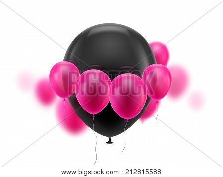 Black ball surrounded small pink. Huge soaring inflatable balloon surrounded by cloud of small pink ones. Vector illustration on white background