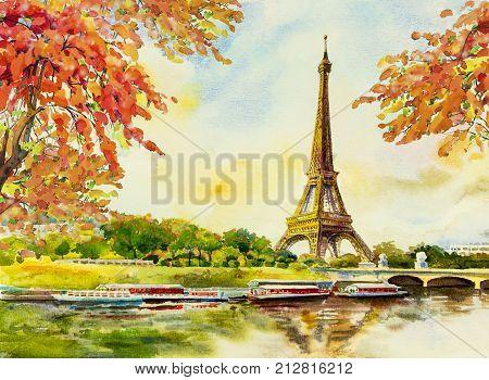 Paris European city landscape. France Eiffel tower famous with romantic the Seine river view in autumn Watercolor painting illustration skyline background. world landmark