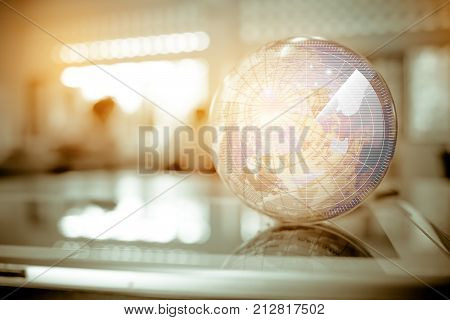 Earth globe model ball map with Radar background on tablet in classroom. Concept for global international educaiton or communications politics environmental for learning world wide. vintage tone