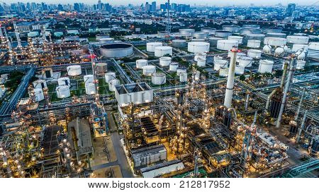 Aerial view of Oil and gas industry - refinery Shot from drone of Oil refinery and Petrochemical plant Bangkok Thailand