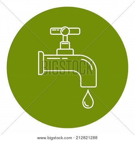 Water tap icon in thin line style. Leaking faucet with liquid drop in round frame. Water economy symbol isolated on white background.
