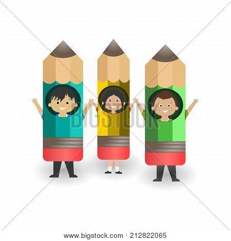 Cheerful Schoolchildren In Pencils.