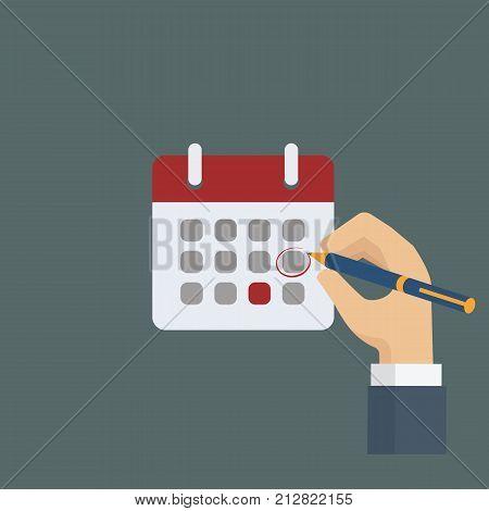 People hand mark calendar with pen. Vector flat illustration