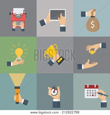 Set of hands holding different business object. Set of businessman hand activities. Hand gestures and equipment