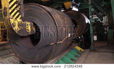 Old Factory Of Auto Components Production. Warehouse Of An Aluminum Pipes. The Production Of Metal P