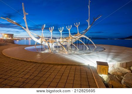 Reykjavik, Iceland - March 27 2016: The Sun voyager one of the Icelandic famous sculpture in Reykjavik the capital city of Iceland at night.