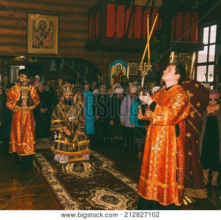 Adygea Russia - November 8 2017: a festive liturgy in an Orthodox church with the participation of the Archbishop