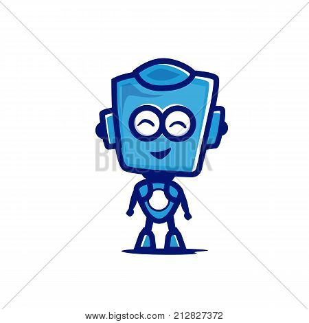 cute robot character, cute robot symbol, full body robot illustration, symbol design, isolated on white background.