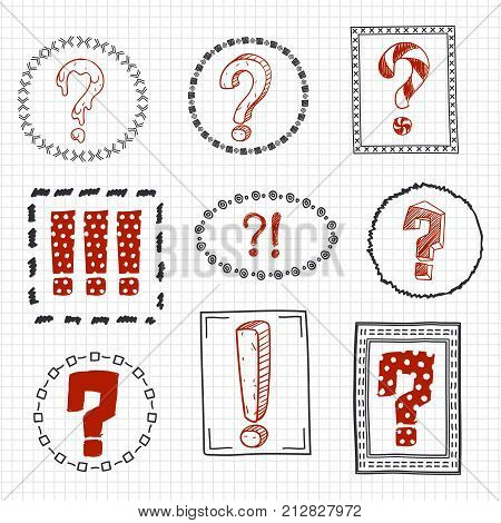 Question and exclamation marks on hand drawn frames. Vector illustration