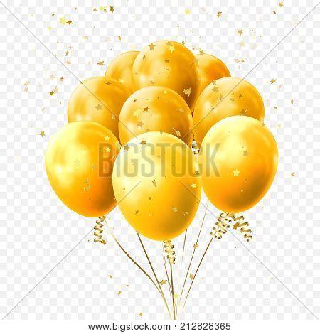 Yellow Balloons Golden Stars Confetti Vector Birthday Party Festival Icon