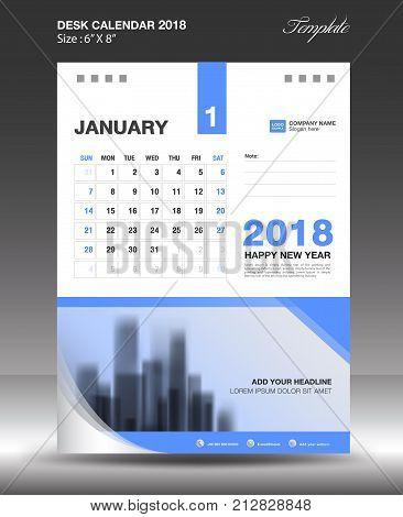 January Desk Calendar 2018 Template design flyer vector business brochure layout Size 6x8 inch vertical