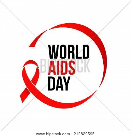 World Aids Day Red Ribbon 1 December Awareness Solidarity Logo Vector Poster