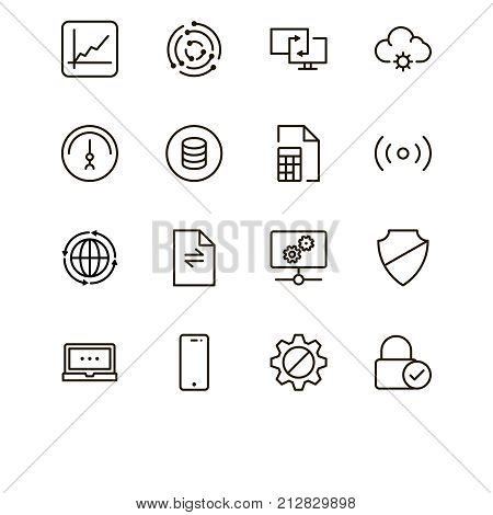 Databse icon set. Collection of high quality outline server pictograms in modern flat style. Black information symbol for web design and mobile app on white background. Data line logo.