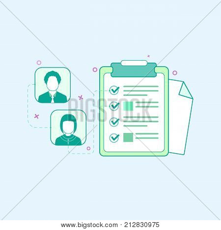 Vector illustration in flat outline style. Graphic design concept of the list. Schedule list people block checkboxes paper