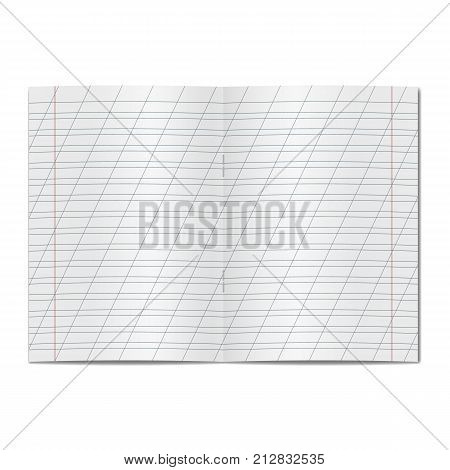 Vector opened realistic school cursive writing worksheet copybook with red margins and diagonal lines handwriting manual. Blank lined open notebook or copy-book with staples mockup or template