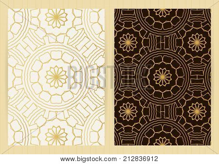 A4 Size Covers. Mandala Round Elements. Ethnic Background. Japanese, Arabic, Islamic, Eastern, Orien