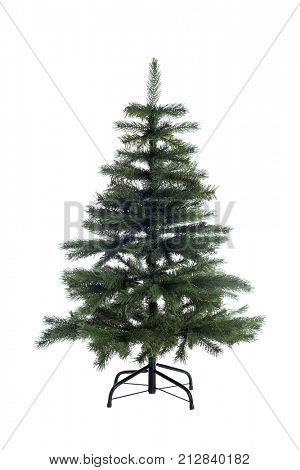 Bare artificial christmas tree isolated on white background