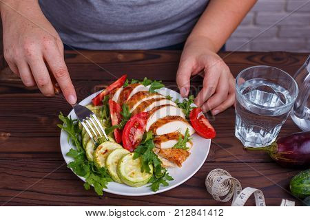 Diet Concept, Healthy Lifestyle, Low Calorie Food. Fat Woman Eating Healthy Food And Drinking Water