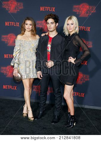 Paris Berelc, Emery Kelly and Isabel May at the Netflix's season 2 premiere of 'Stranger Things' held at the Regency Village Theatre in Westwood, USA on October 26, 2017.