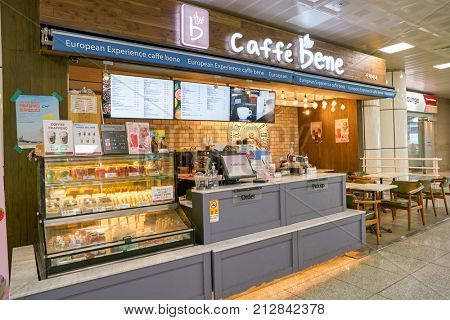 BUSAN, SOUTH KOREA - CIRCA MAY, 2017: caffe bene at Gimhae International Airport, Domestic Terminal.