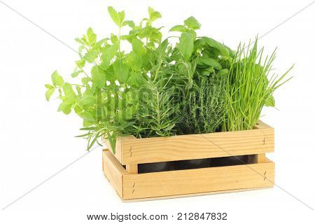 mixed herbs in a wooden crate on a white background