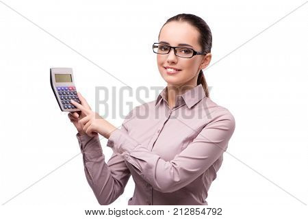 Young businesswoman with calculator isolated on white